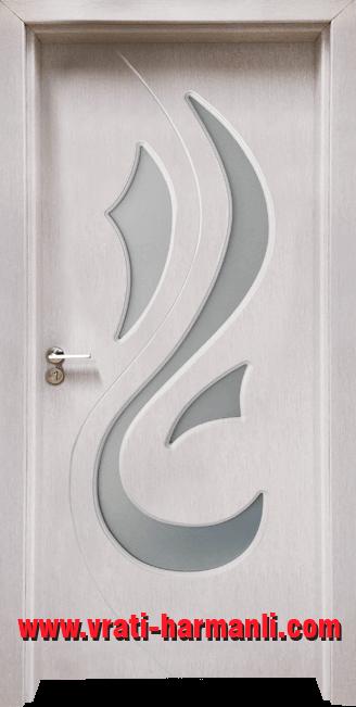 Стъклена интериорна врата Гама 203, цвят Перла