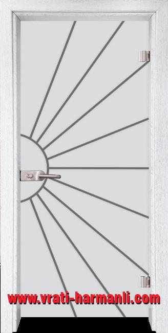 Стъклена интериорна врата модел Gravur G 13-2 с каса Бреза