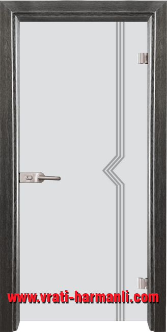 Стъклена интериорна врата модел Gravur G 13-3 с каса Сив Кестен
