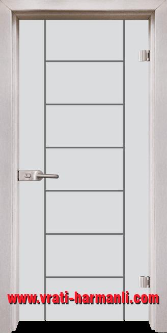 Стъклена интериорна врата модел Gravur G 13-6 с каса Перла