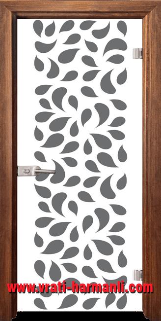 Стъклена интериорна врата модел Print G 13-1 с каса Златен дъб