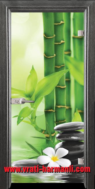 Стъклена интериорна врата модел Print G 13-9 с каса Сив Кестен